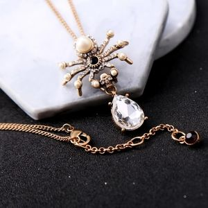 Jewelry - Gothic Crystal Waterdrop Spider Necklace